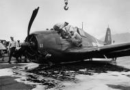 Asisbiz Grumman F6F 5 Hellcat VF 18 White 11 landing mishap due to landing gear malfunction 1944 01