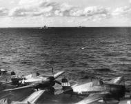 Asisbiz Grumman F6F 5 Hellcat VF 81 Black 170 and 169 onboard CV 18 USS Wasp 01