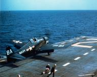 Asisbiz Grumman F6F 5 Hellcat WHite BA216 being launched from USS Monterey Gulf of Mexico 1953 01