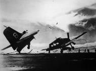 Asisbiz Grumman F6F 5P Hellcat VP 23 White 8 flight deck accident CVL 23 USS Princeton CLV 23 01