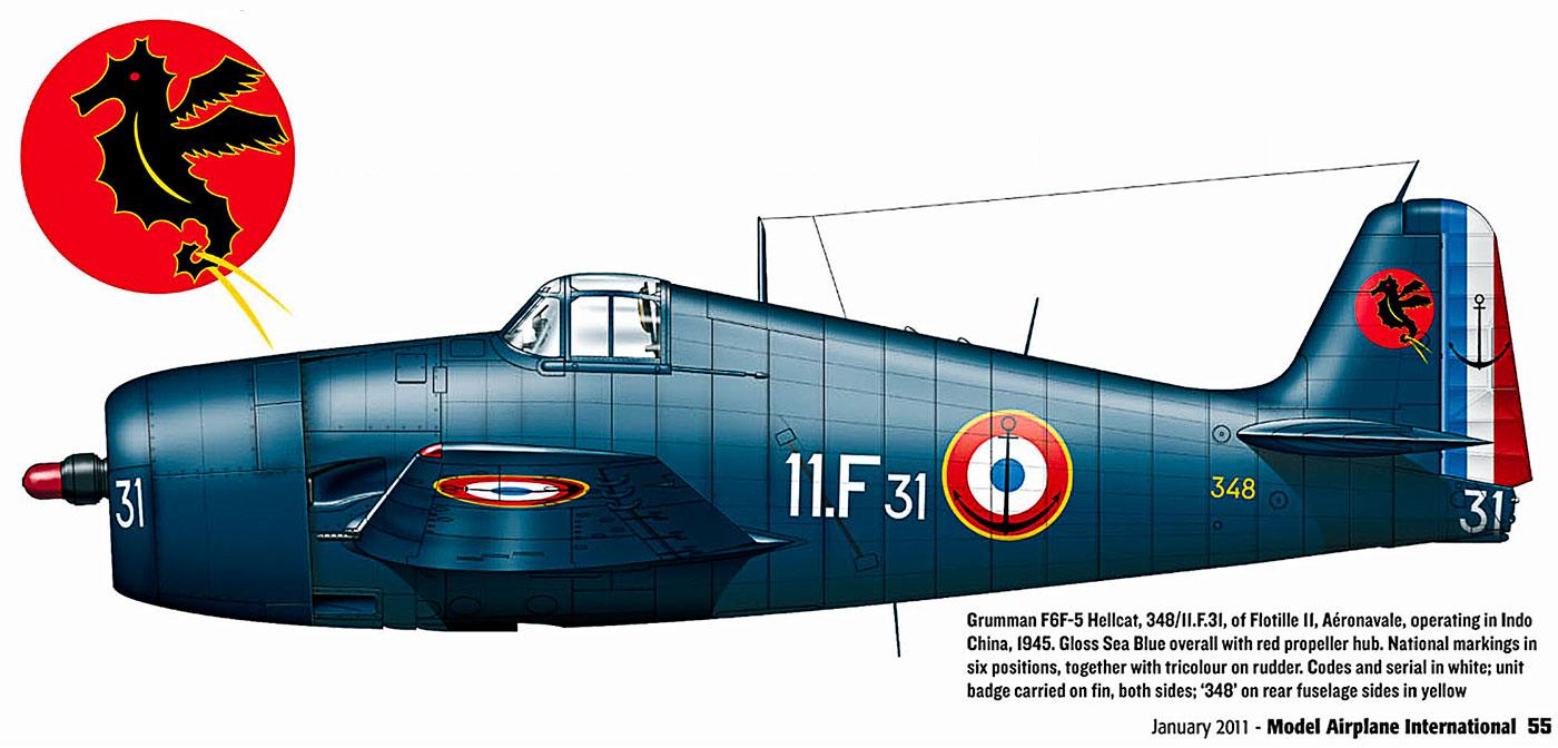 French Navy Grumman F6F 5 Hellcat Flotille 11 Aeronavale 348 11F31 Indo China 1945 0A