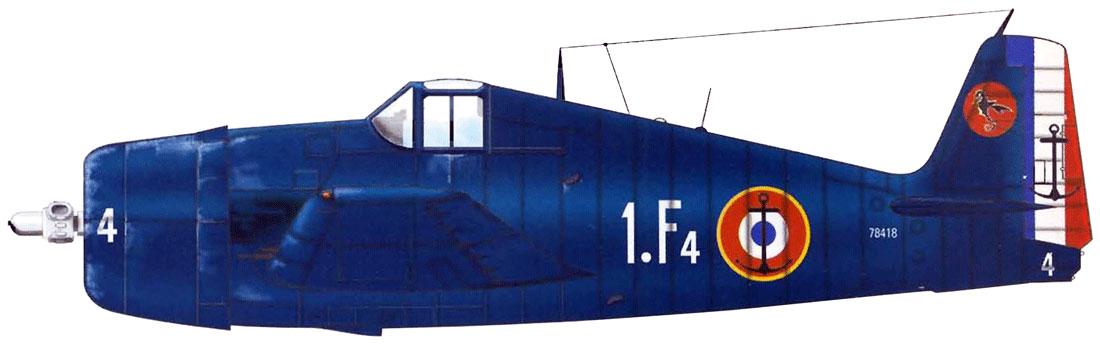 French Navy Grumman F6F 5 Hellcat Flotille 1F4 BuNo 78418 Carrier R95 Arromanches 1953 0A