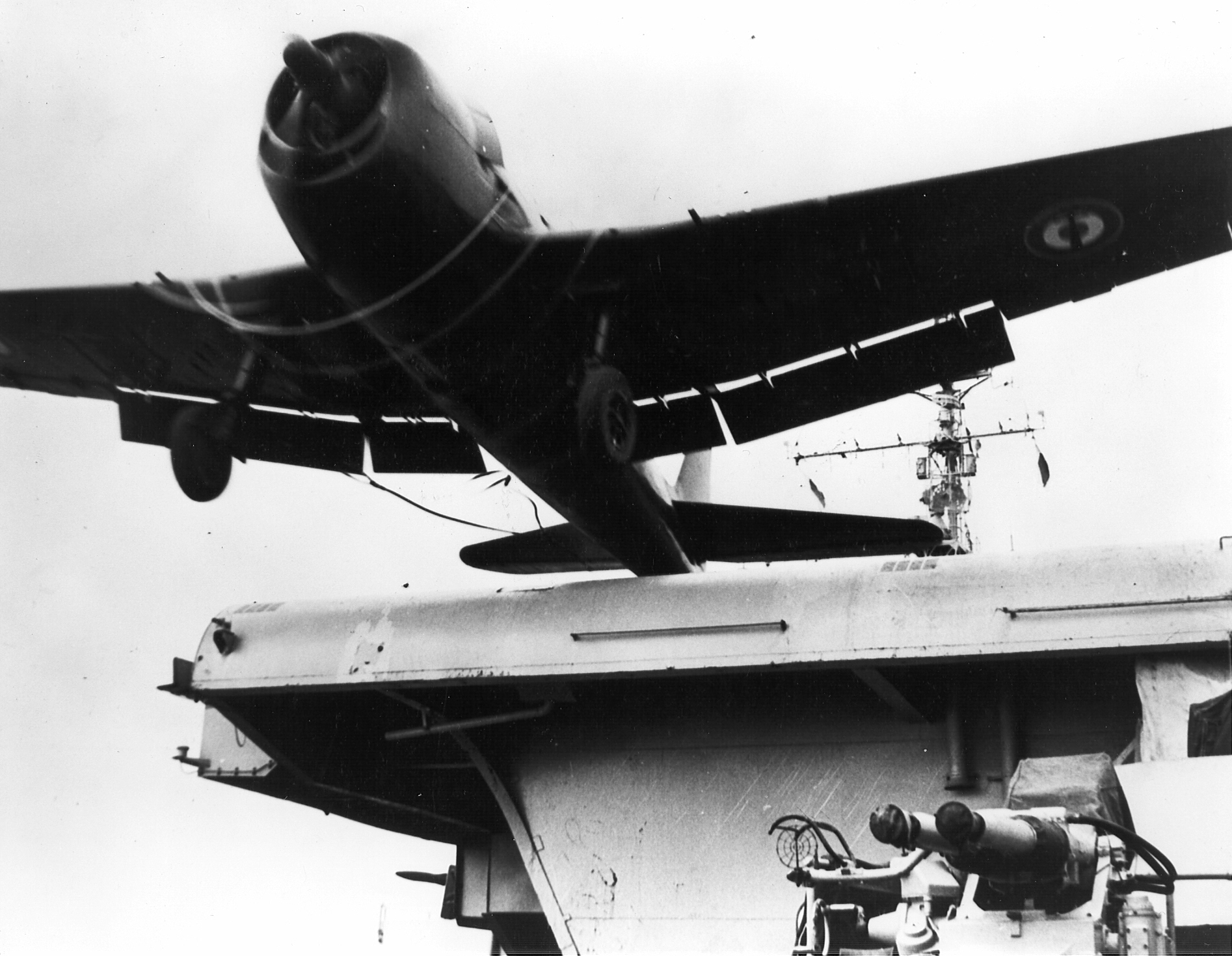 French Navy Grumman F6F 5 Hellcat launched from French carrier Lafayette off Indochina 1956 01