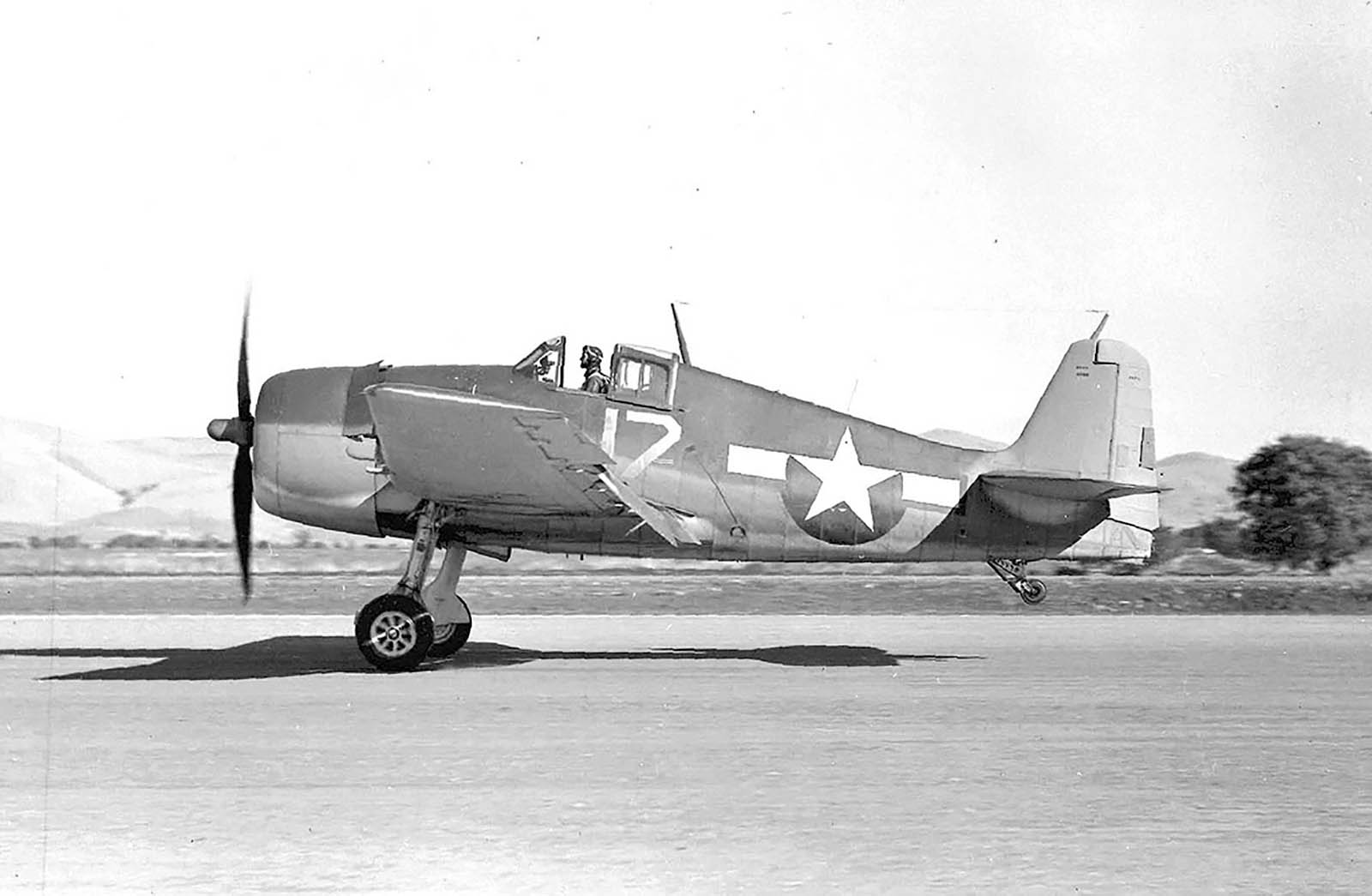 Grumman F6F 3 Hellcat NAS White 17 BuNo 40198 taking off from OLF Concord Oct 1943 01