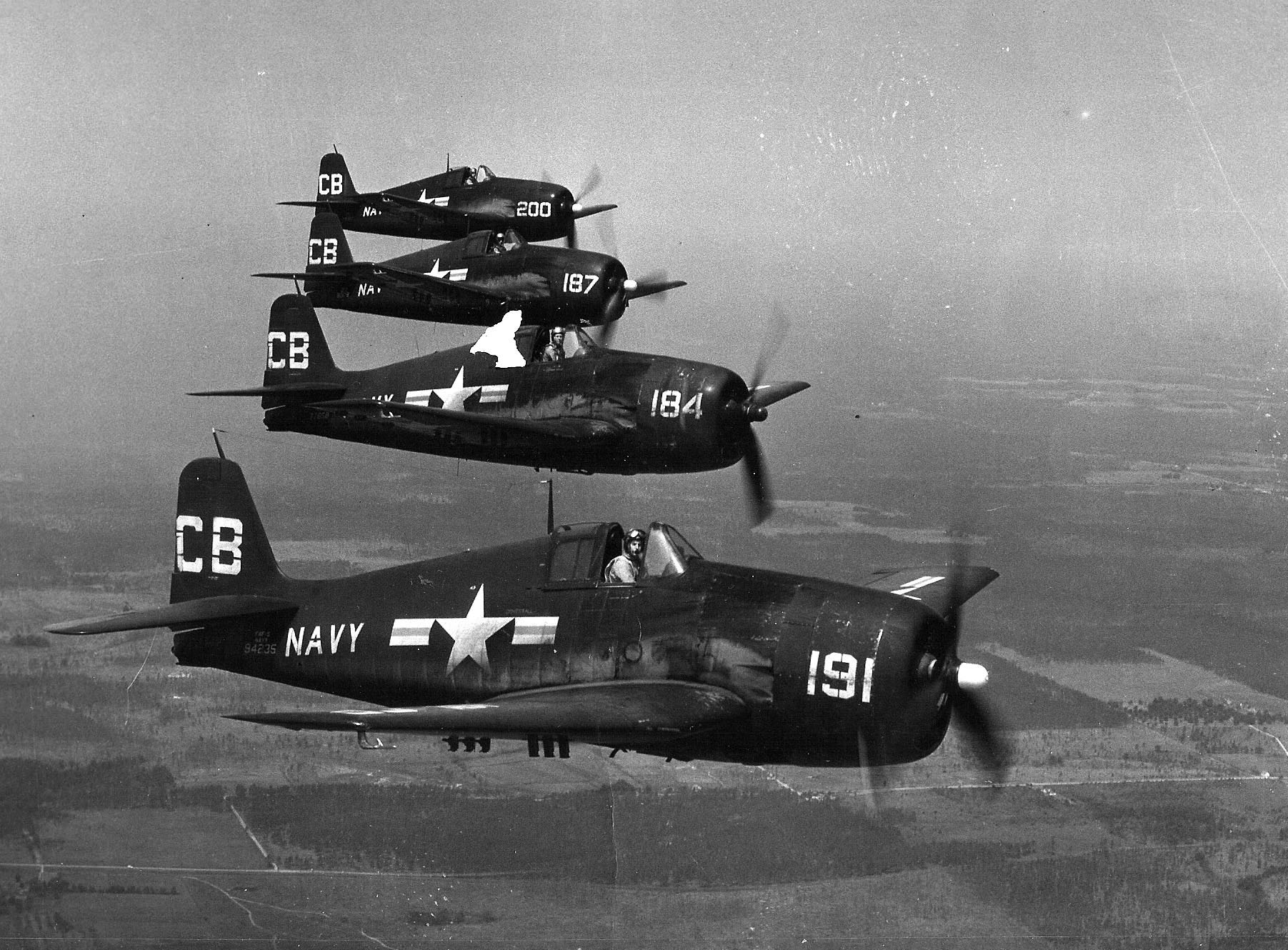 Grumman F6F 5 Hellcat NAS White CB191 BuNo 94235, CB184, CB187 and CB200 NAS Saufley Field FL 01