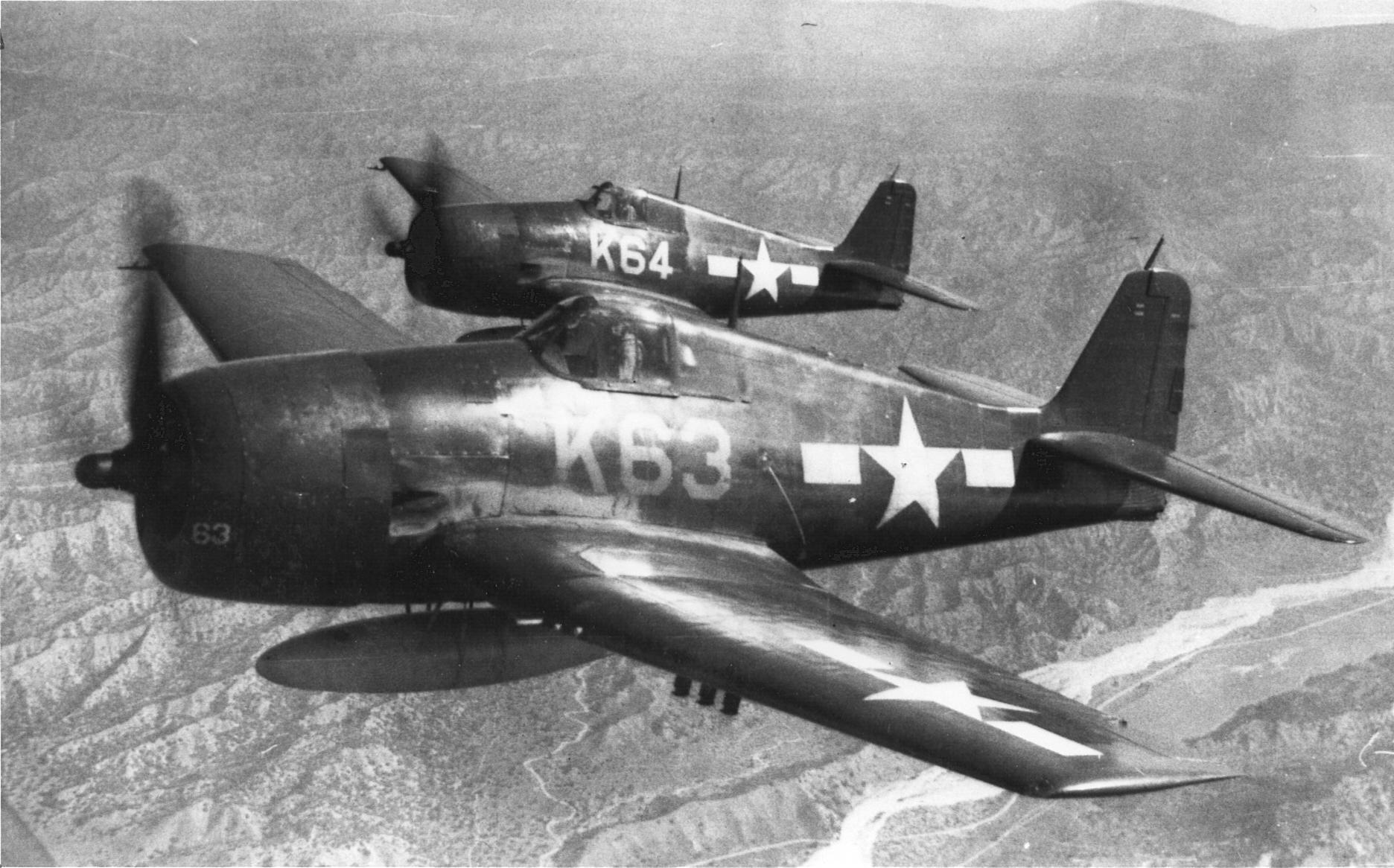 Grumman F6F 5 Hellcat VMF 321 White K63 and K64 over MCAS El Toro CA 01