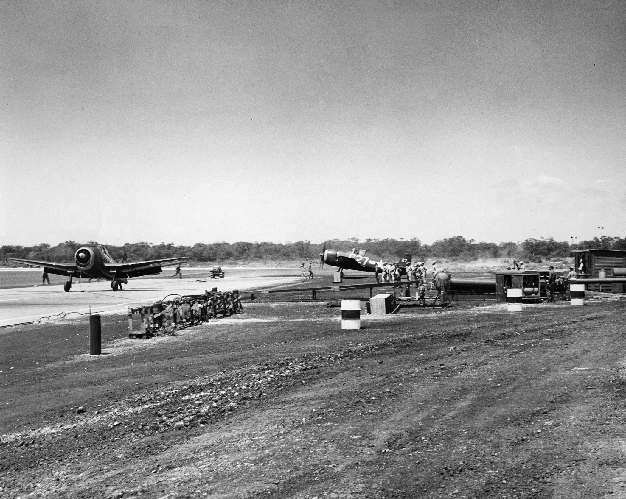 Grumman F6F 5 Hellcat White C34 and C27 using a bridle catapult from NAS Barbers Point HI 1959 01