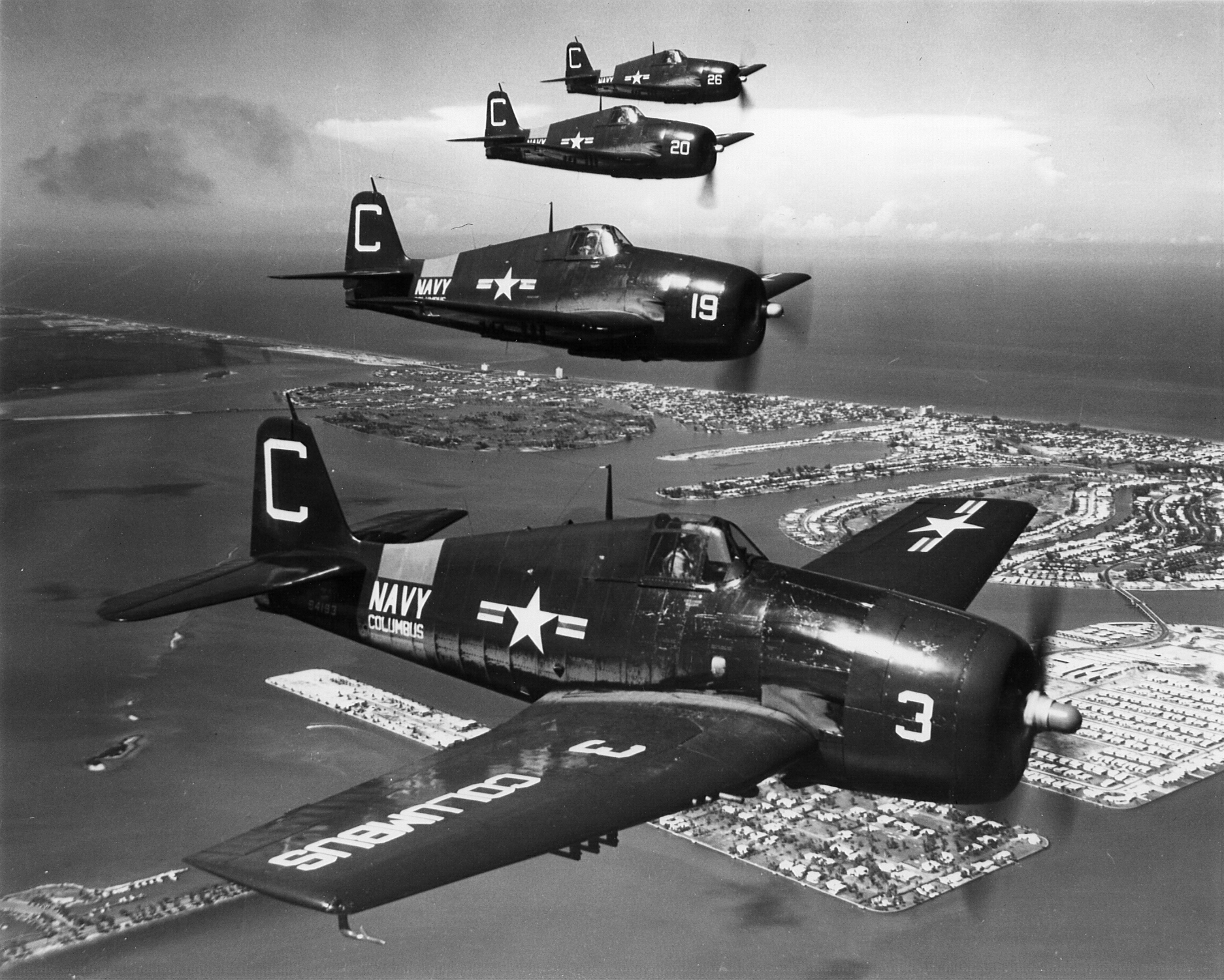 Grumman F6F 5P Hellcat NARTU White C3 BuNo 72386 C19 C20 and C26 over Miami NARTU Columbus OH 1950 01