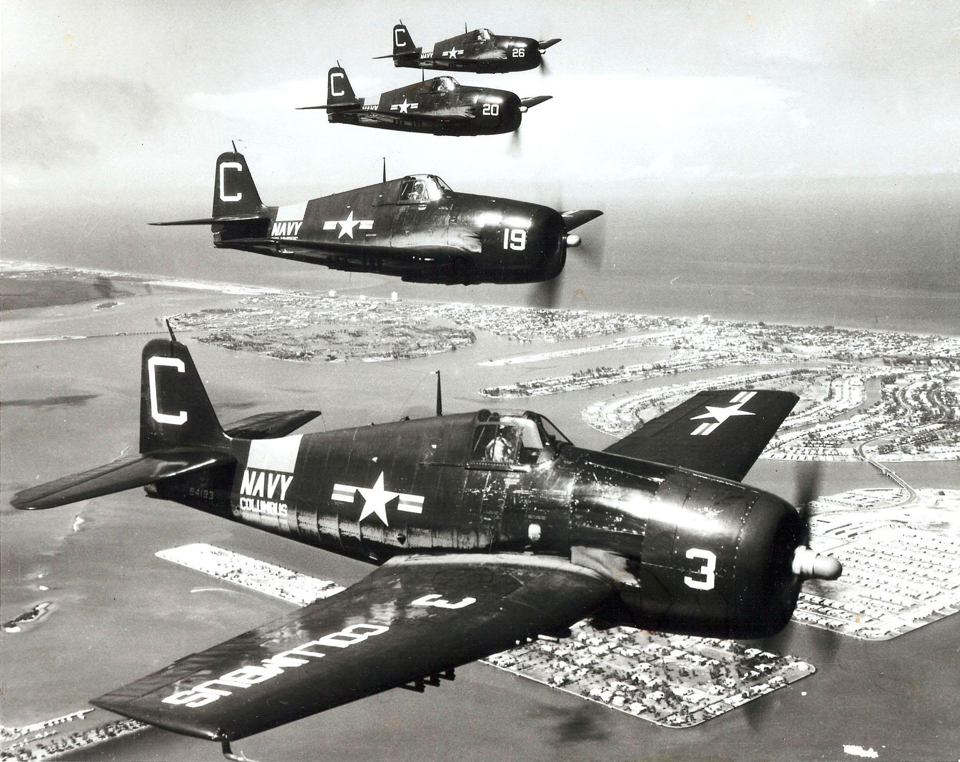 Grumman F6F 5P Hellcat NARTU White C3 BuNo 72386 C19 C20 and C26 over Miami NARTU Columbus OH 1950 02