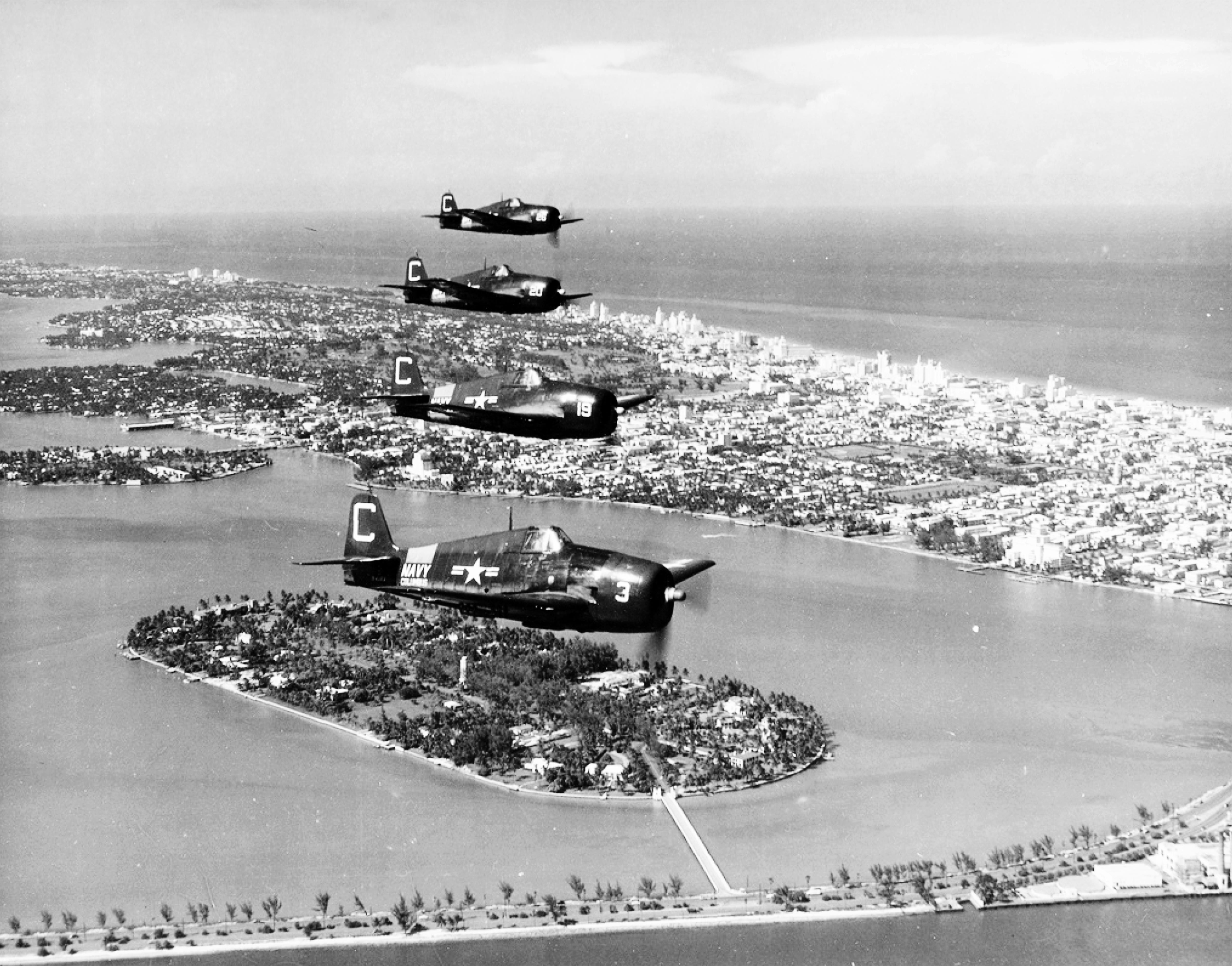 Grumman F6F 5P Hellcat NARTU White C3 BuNo 72386 C19 C20 and C26 over Miami NARTU Columbus OH 1950 03