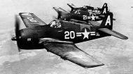 Asisbiz Grumman F6F 5 Hellcat NAS White A20 showing BuNo 77693 in formation with White 21 and 26 01