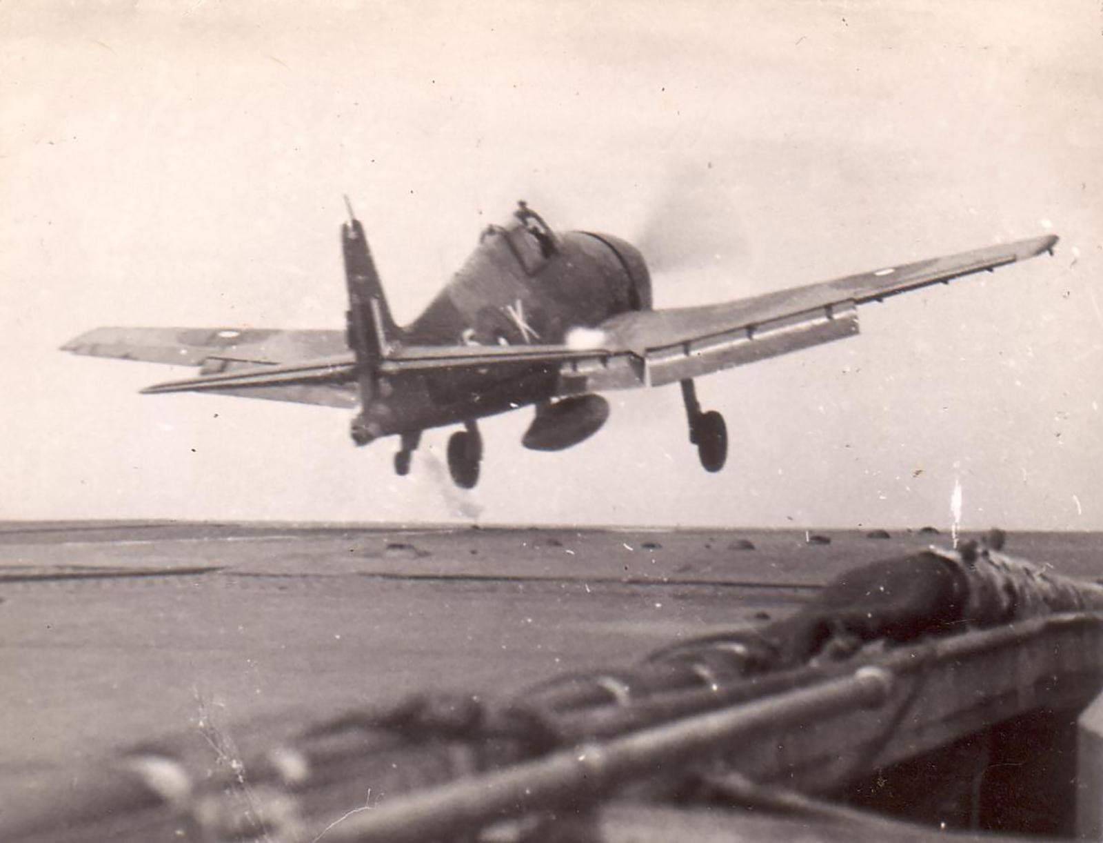 HMS Indomitable launches Hellcat FAA 1839NAS 5K for a raid on Padang Sumatra Aug 24 1944 01