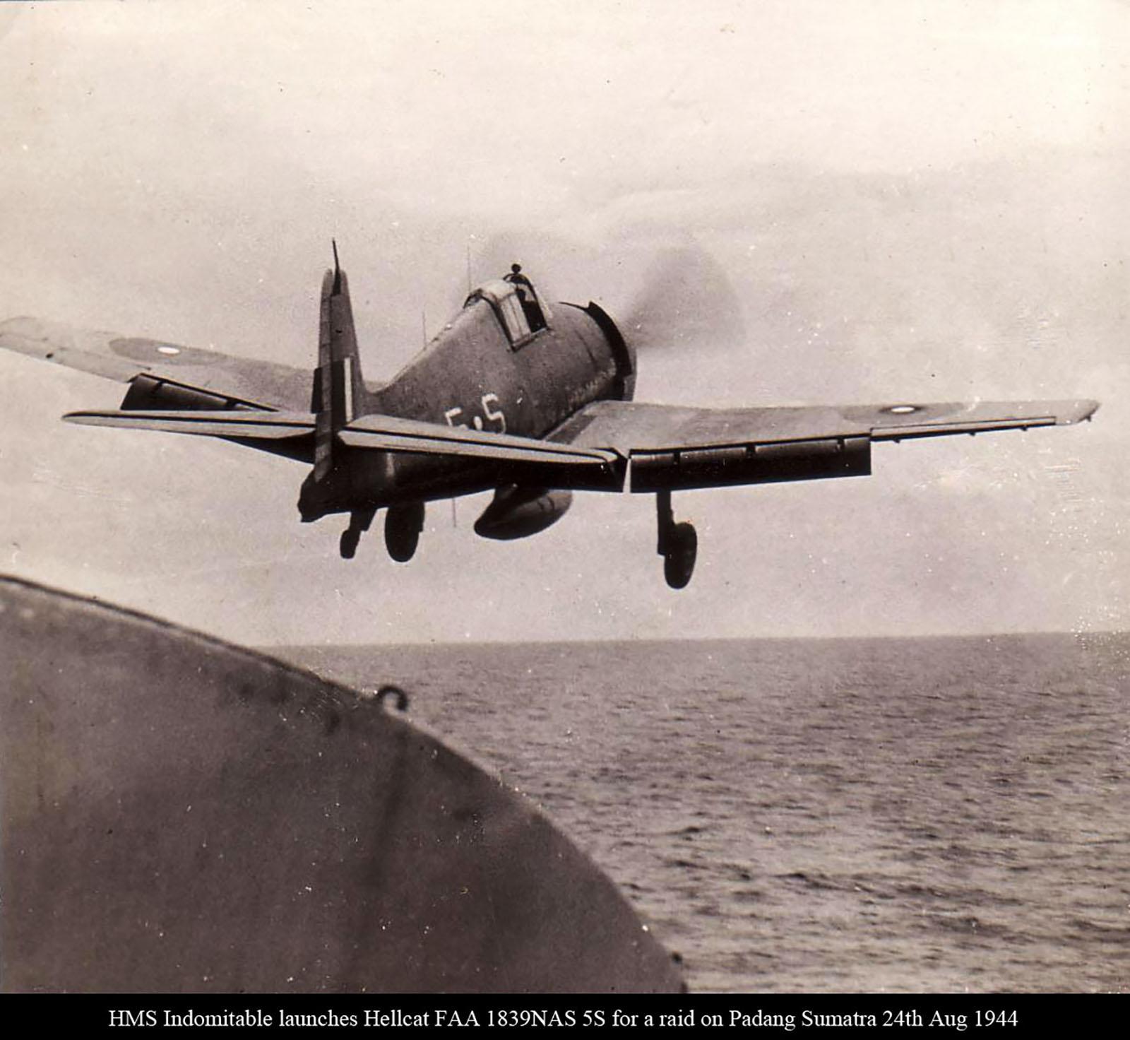 HMS Indomitable launches Hellcat FAA 1839NAS 5S for a raid on Padang Sumatra Aug 24 1944 01