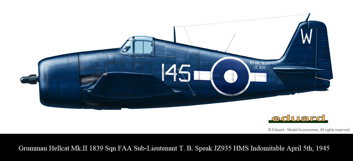 Grumman Hellcat MkII RN FAA 1839NAS pilot T B Speak JZ935 HMS Indomitable April 5th 1945 0A