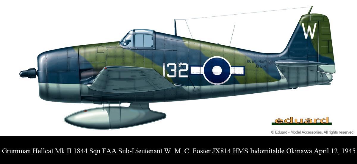 Grumman Hellcat MkII RN FAA 1844NAS W132 WMC Foster JX814 HMS Indomitable Okinawa April 12 1945 0A