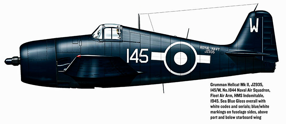 Grumman Hellcat MkII RN FAA 1844NAS W145 JZ935 HMS Indomitable 1945 0A