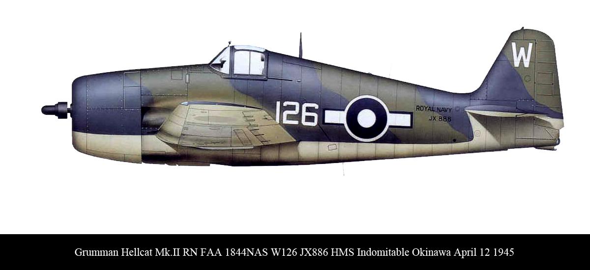 Grumman Hellcat MkII RN FAA 1844NAS White 126 JX886 aboard HMS Indomitable Okinawa April 12 1945 0A