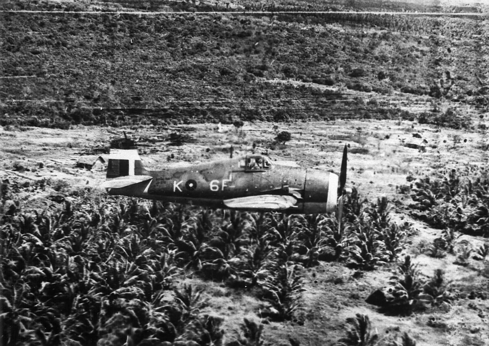 Grumman Hellcat MkII RN FAA 808NAS K6F on patrol over Katukurunda 1945 01