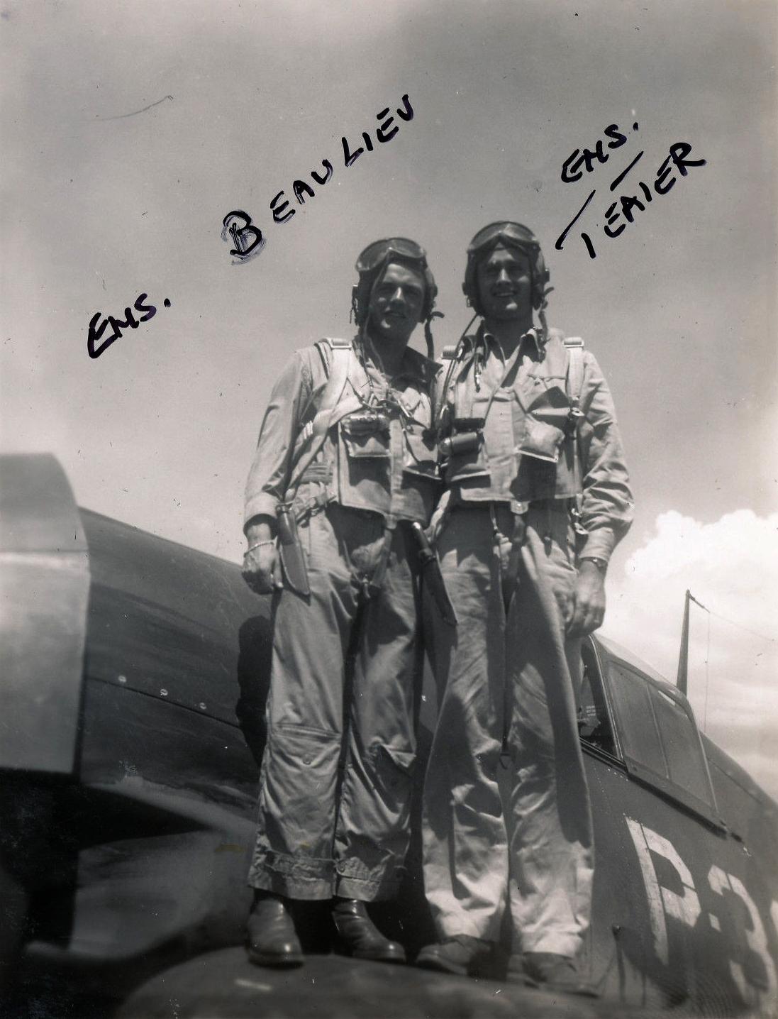 Aircrew USN VBF 8 Ens Beaulieu Ens Teater NAS Puunene 1945 01