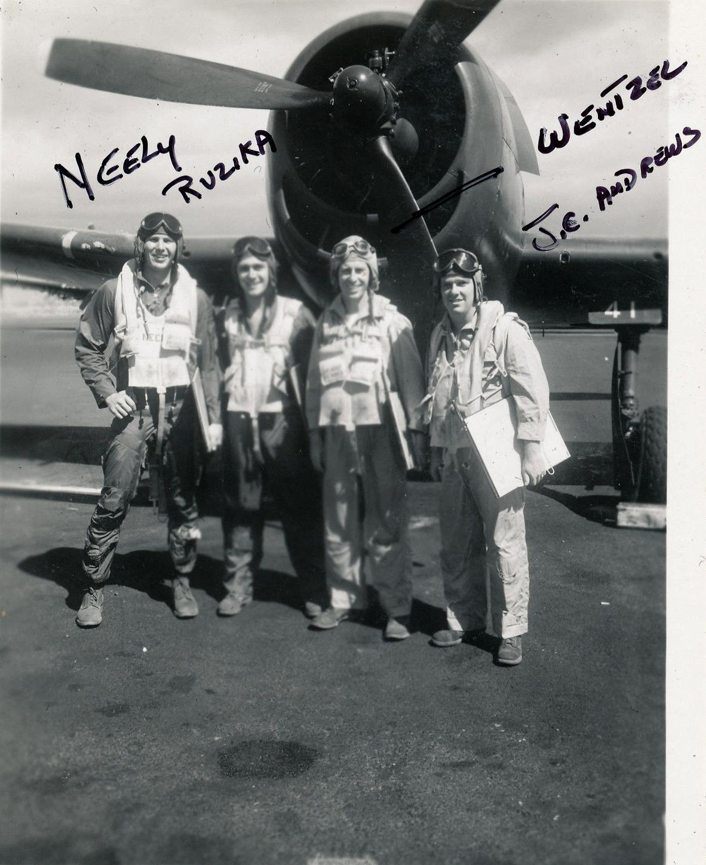 Aircrew USN VBF 8 Neely Ruzika Wentzel JE Andrews NAS Puunene 1945 01