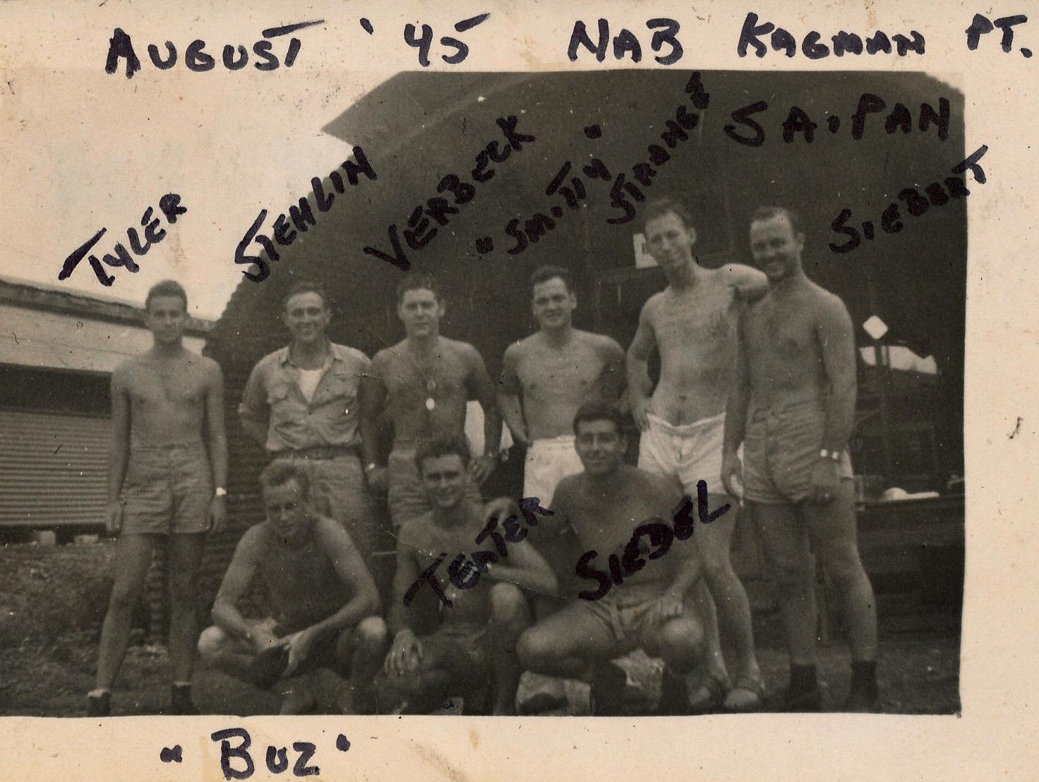 Aircrew USN VBF 8 pilots at NAB Kagman Point Aug 1945 01