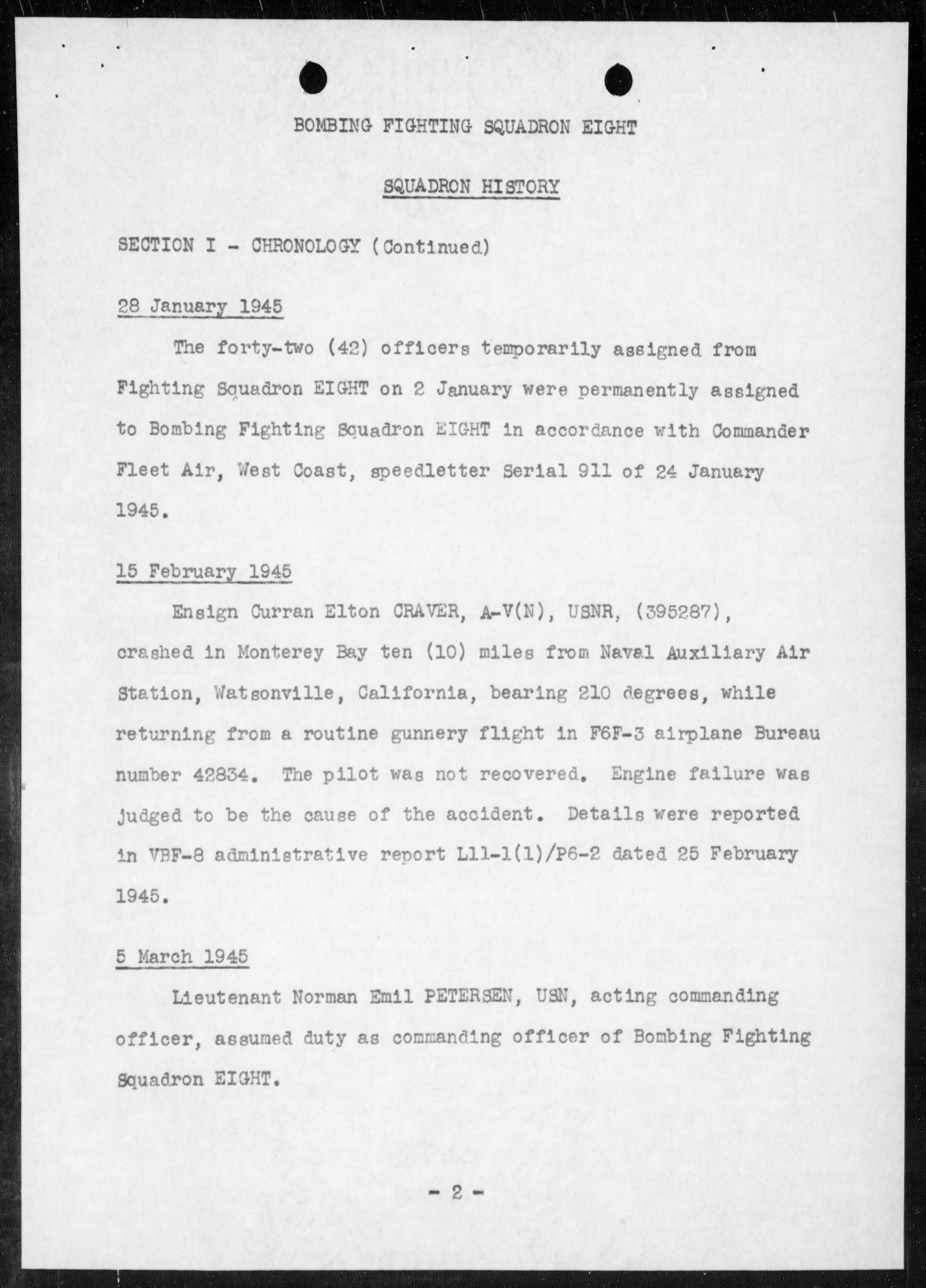 Document USN VBF 8 war diary 1945 0F