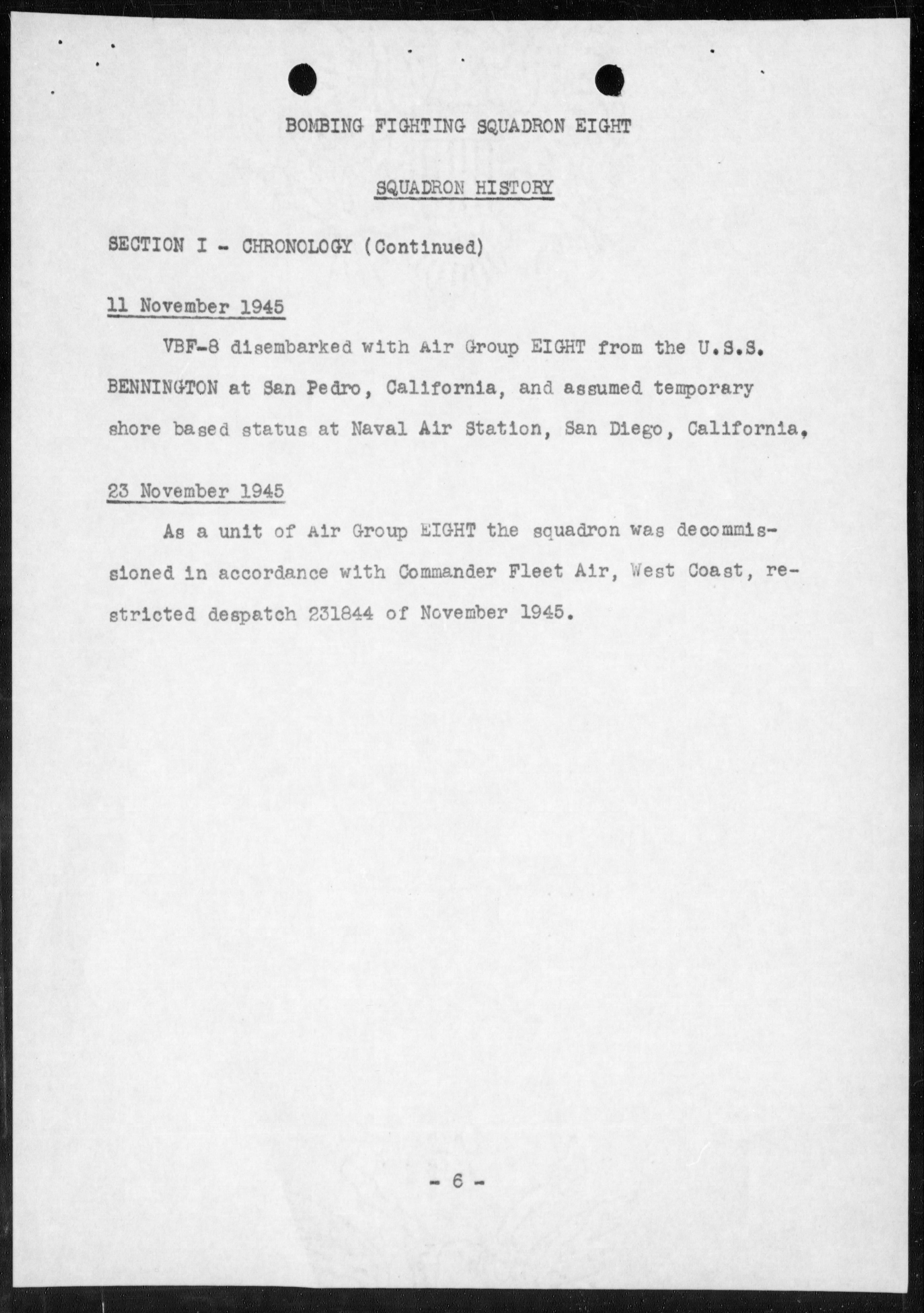 Document USN VBF 8 war diary 1945 0G
