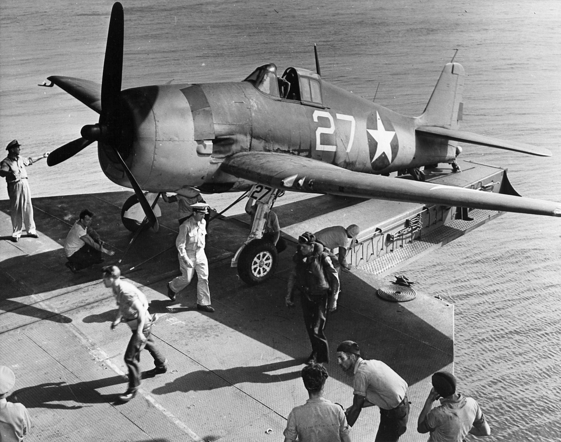 Grumman F6F 3 Hellcat VF 1 White 27 using the hangar deck catapault CV 10 USS Yorktown Jun 1943 02