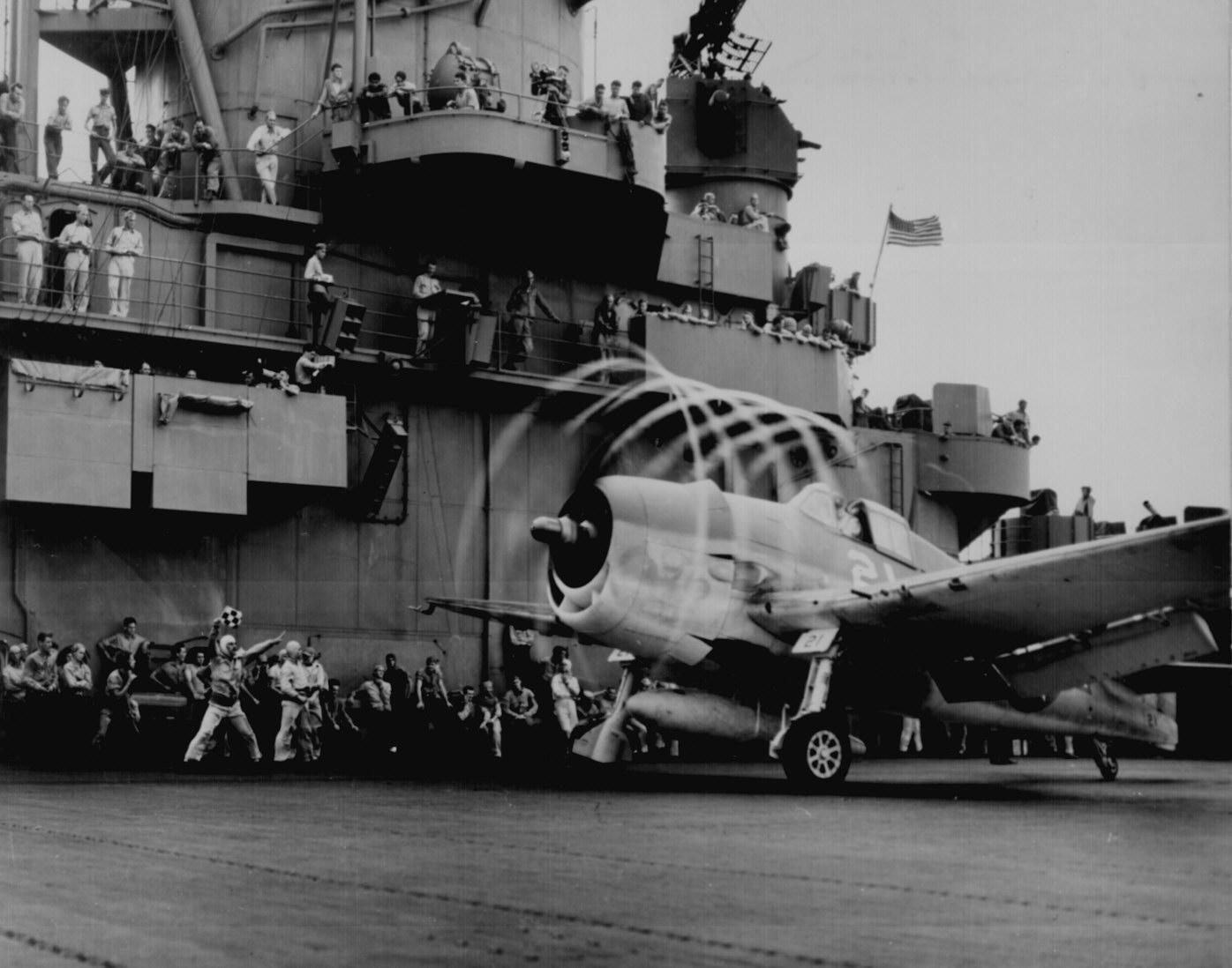 Grumman F6F 3 Hellcat VF 1 White K21 launching from CV 10 Yorktown II 1943 01