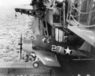 Asisbiz Grumman F6F 3 Hellcat VF 1 White 27 using the hangar deck catapault CV 10 USS Yorktown Jun 1943 01