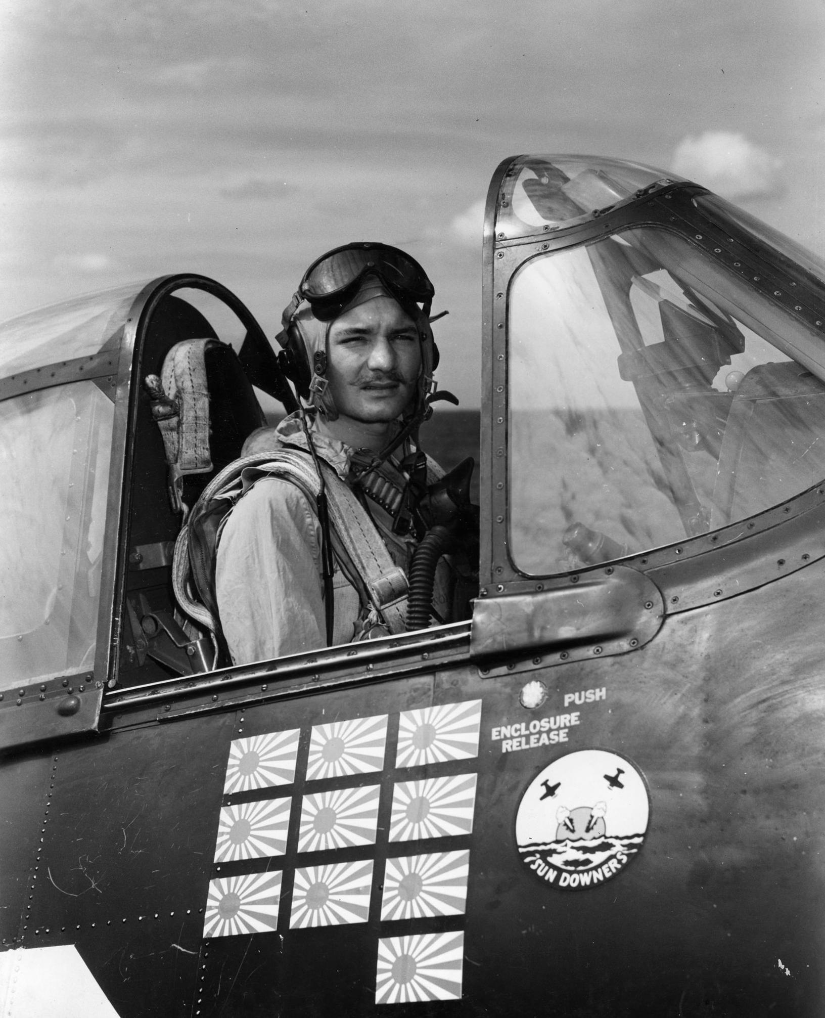 Aircrew USN VF 11 ace Lt James E Swope scored 10 01