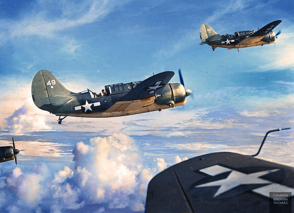 Curtiss SB2C Helldivers VB 2 White 49 and 50 from the USS Hornet on a mission over Saipan Mariana Islands 24th August 1944 01