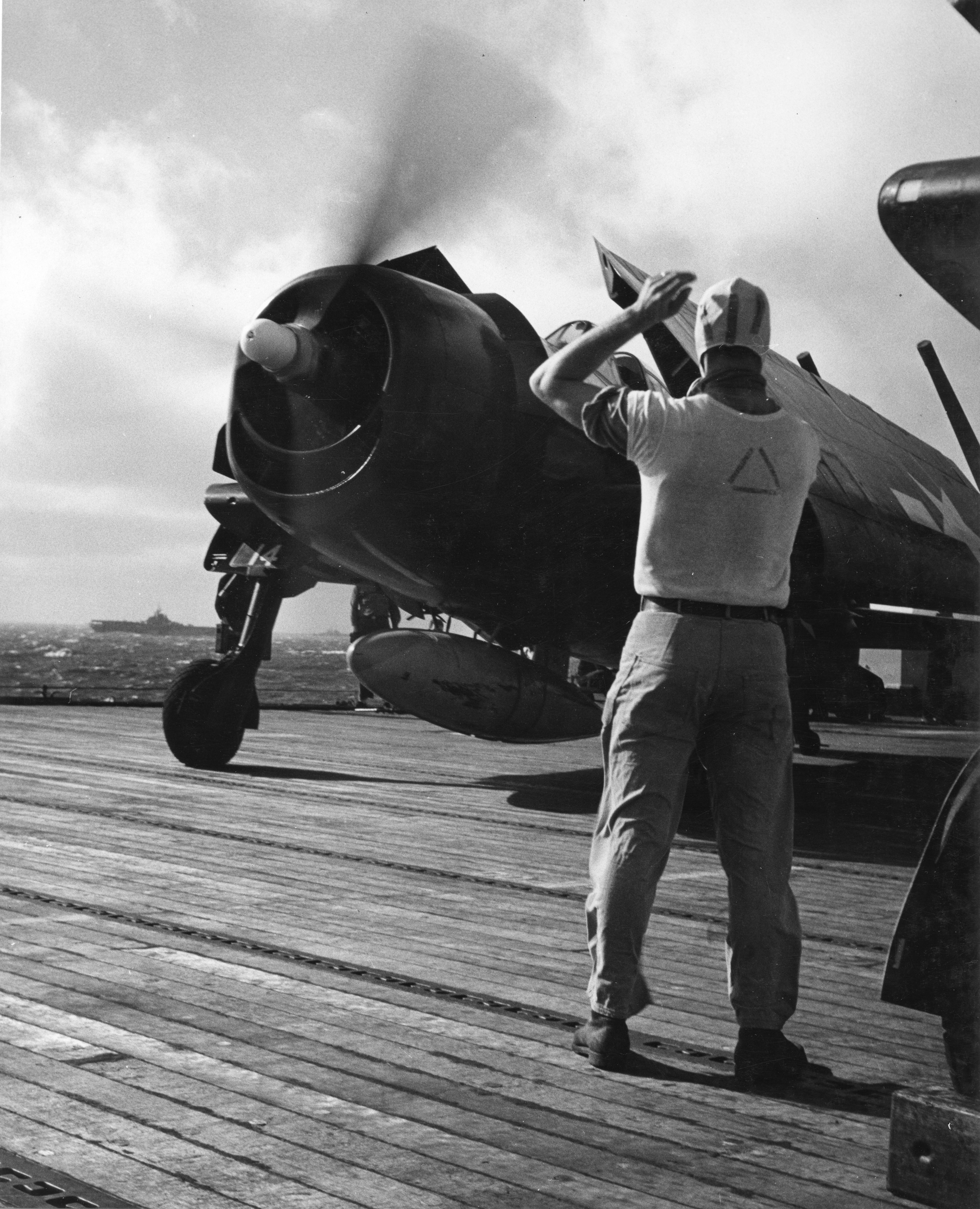 Grumman F6F 5 Hellcat VF 11 Sundowners White 14 preparing for launch CV 12 USS Hornet 1944 01