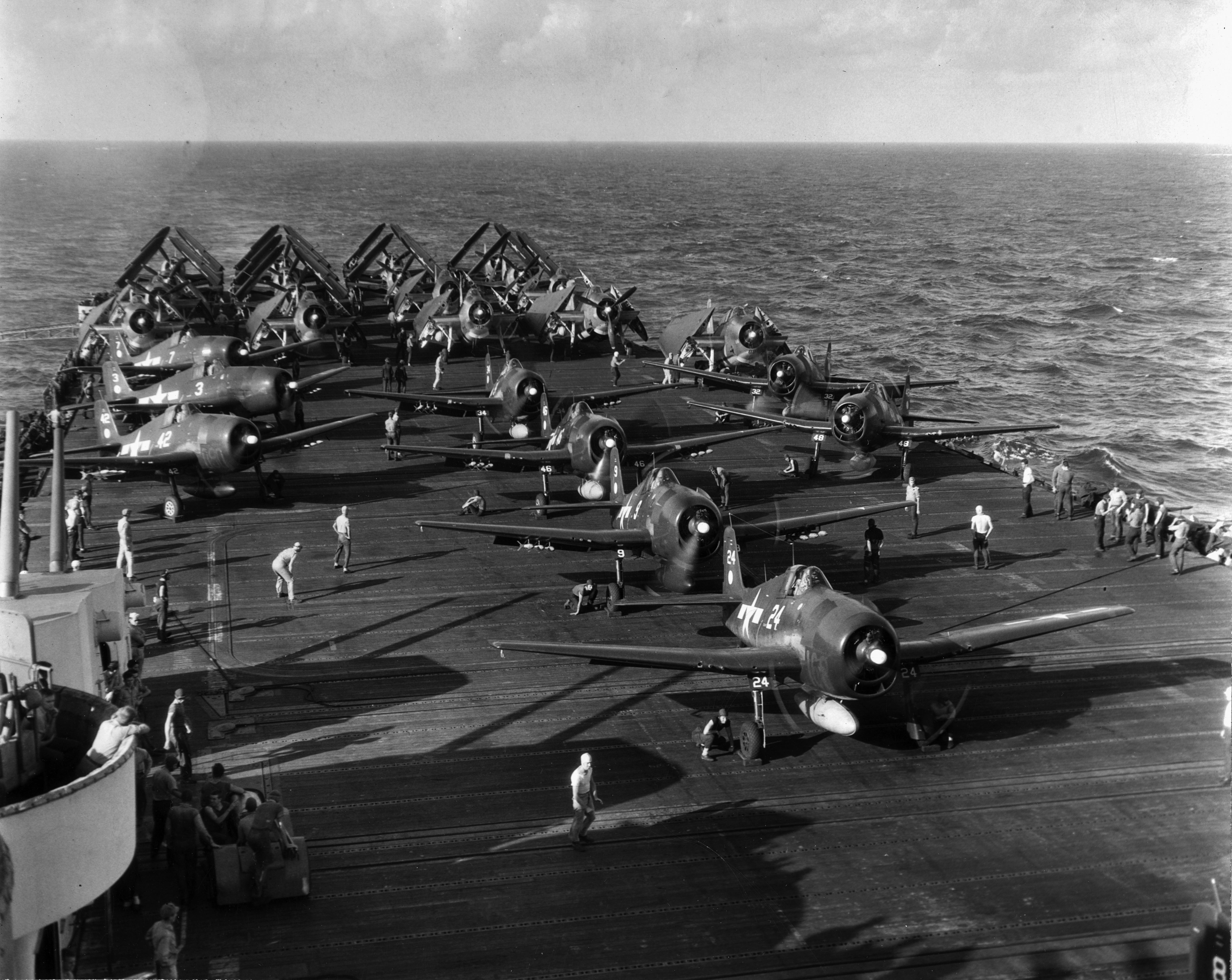 Grumman F6F 5 Hellcat VF 11 Sundowners White 24 preparing for launch CV 12 USS Hornet 1944 01