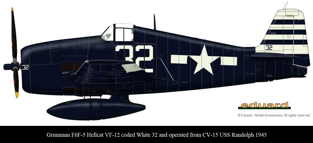 Grumman F6F 5 Hellcat VF 12 White 32 aboard CV 15 USS Randolph 1945 0B