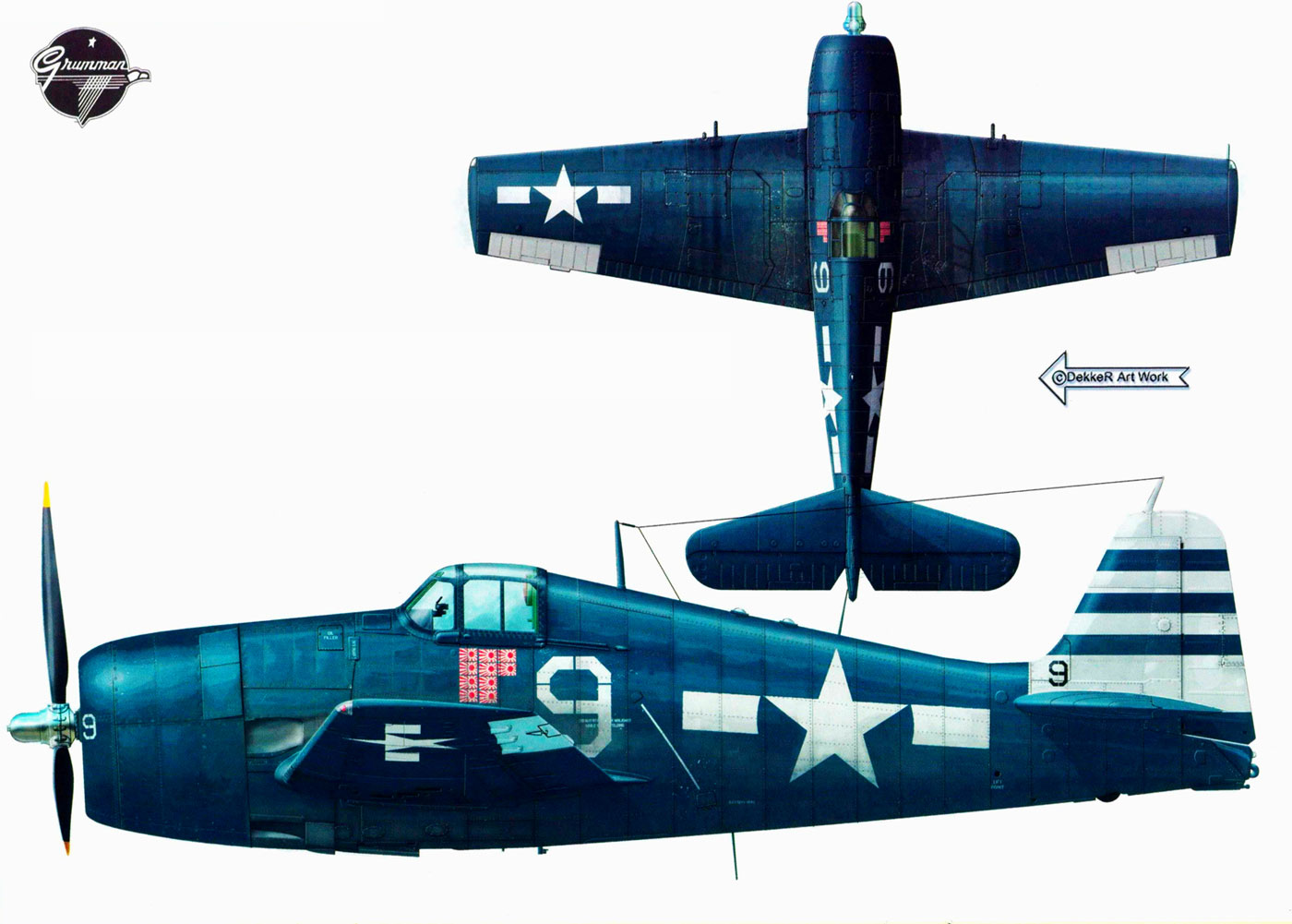 Grumman F6F 5 Hellcat VF 12 White 9 Lt Hamilton McWhorter CV 15 USS Randolph May 1945 0A