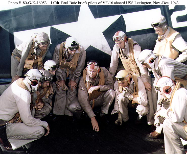 Aircrew USN press release photo showing VF 16 pilots onboard USS Lexington 1943 01
