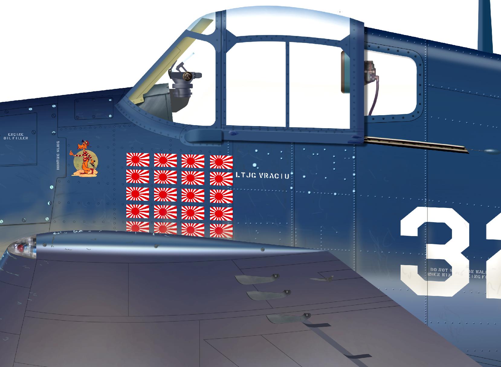 Art Grumman F6F 3 Hellcat VF 16 White 32 Alex Vraciu 0A