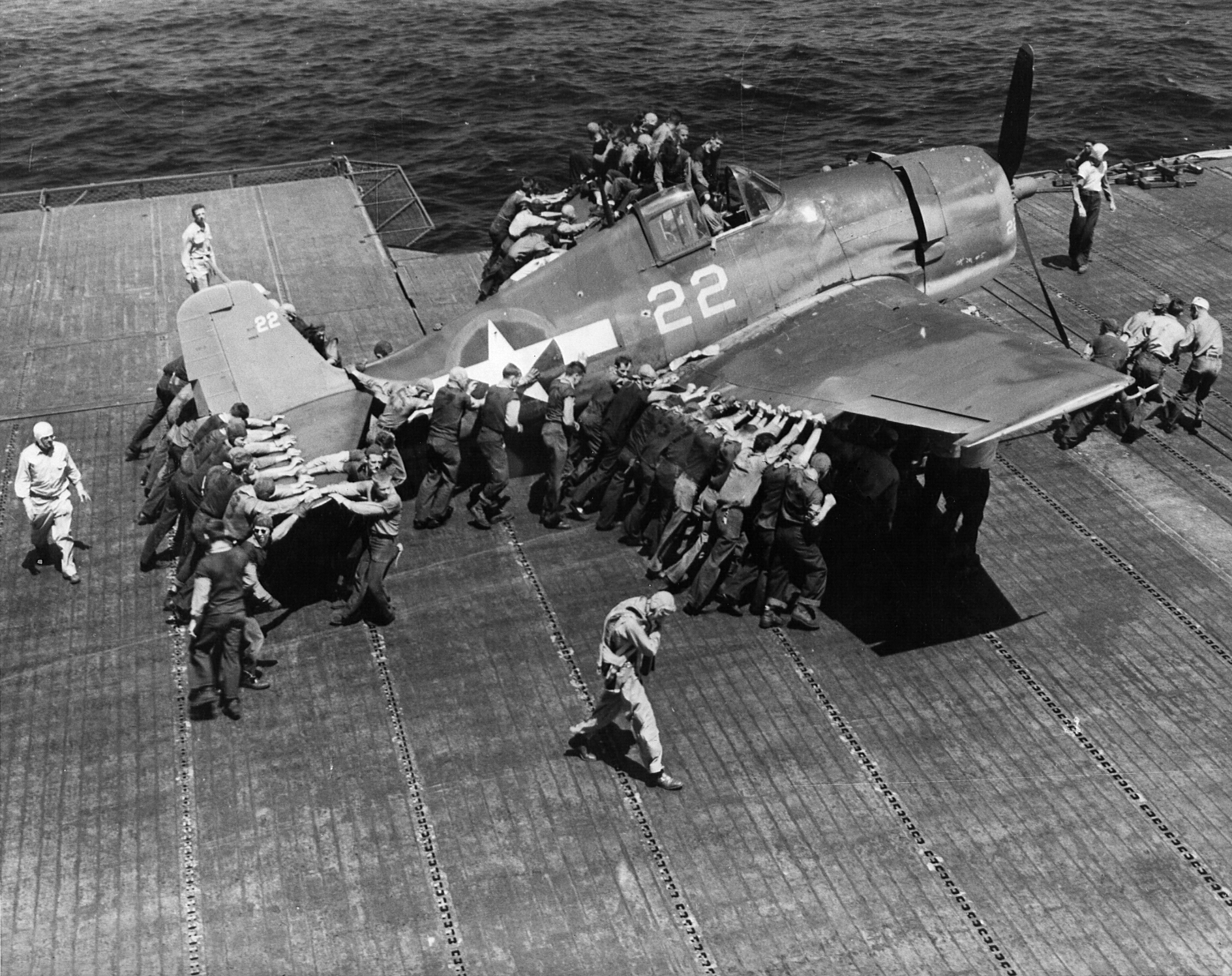 Grumman F6F 3 Hellcat VF 16 White 22 being positioned for launch CV 16 USS Lexington 1944 01