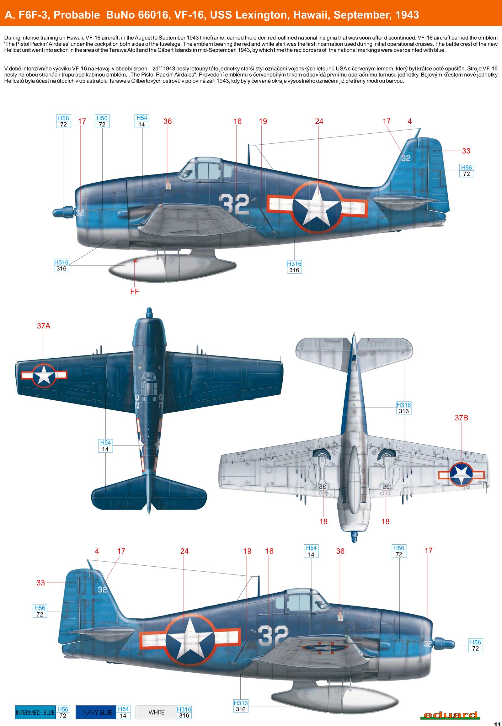 Grumman F6F 3 Hellcat VF 16 probable BuNo 66016 CV 16 USS Lexington Hawaii September 1943 0A