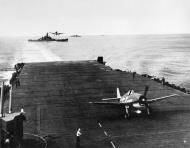 Asisbiz Grumman F6F 3 Hellcat VF 16 White 28 landing CV 16 USS Lexington with BB 57 USS South Dakota 1944 01