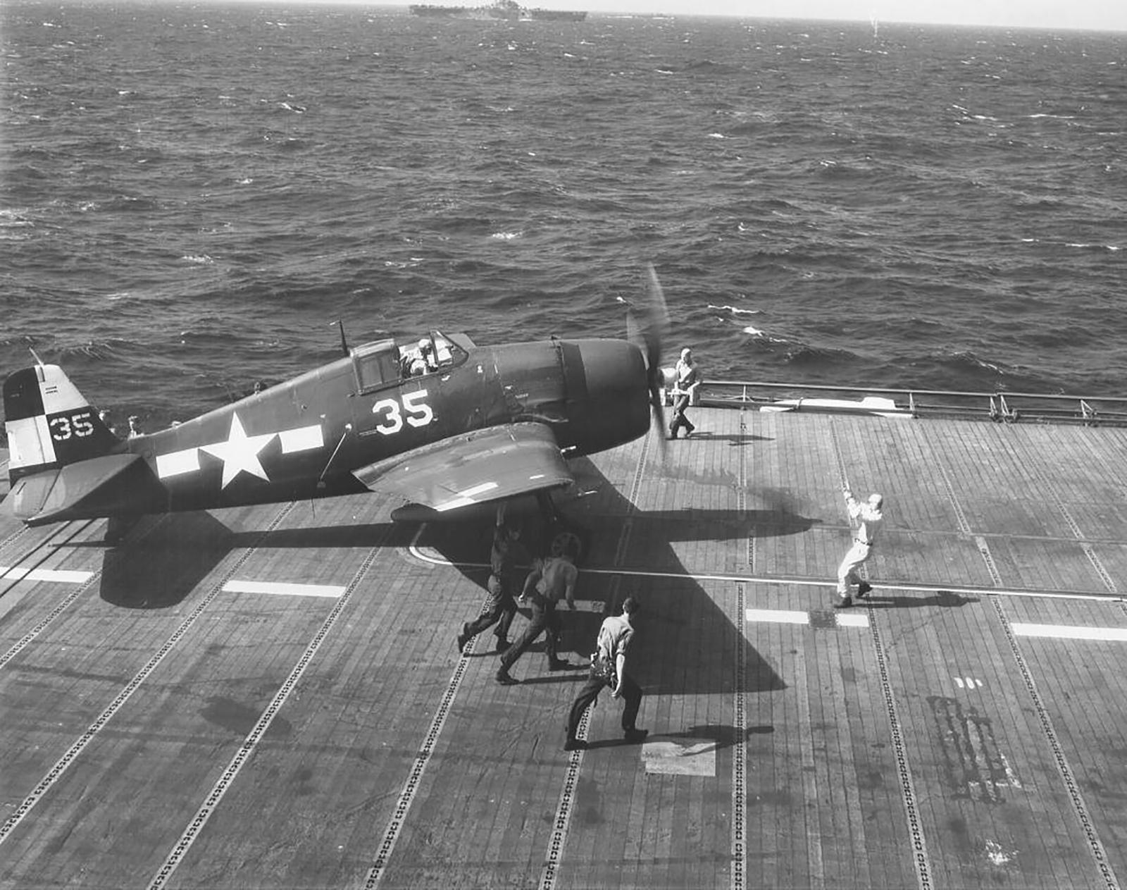 Grumman F6F 5 Hellcat VF 17 White 35 prepares for launch CV 12 USS Hornet 1945 01