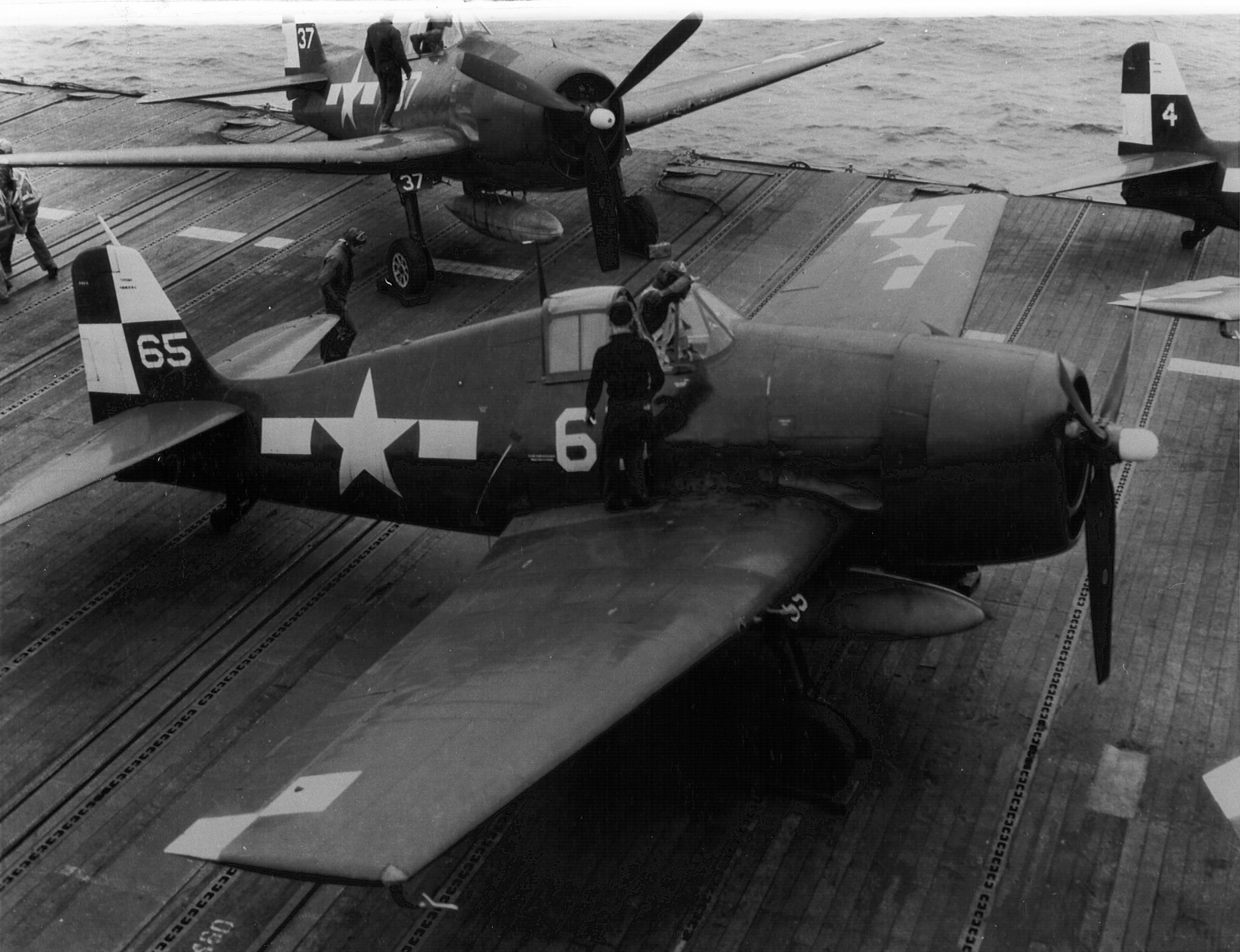 Grumman F6F 5 Hellcat VF 17 White 65 White 37 preparing for launch USS Hornet 1945 01