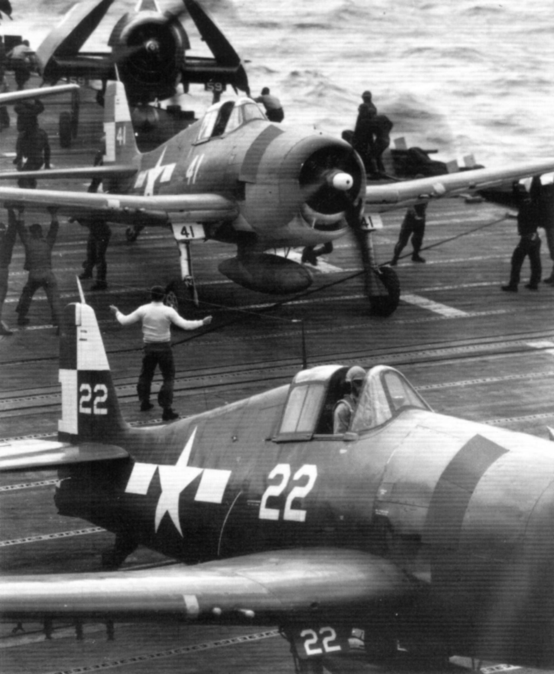 Grumman F6F 5 Hellcat VF 22 White 22 and 41 preparing for luanch USS Hornet 1945 01