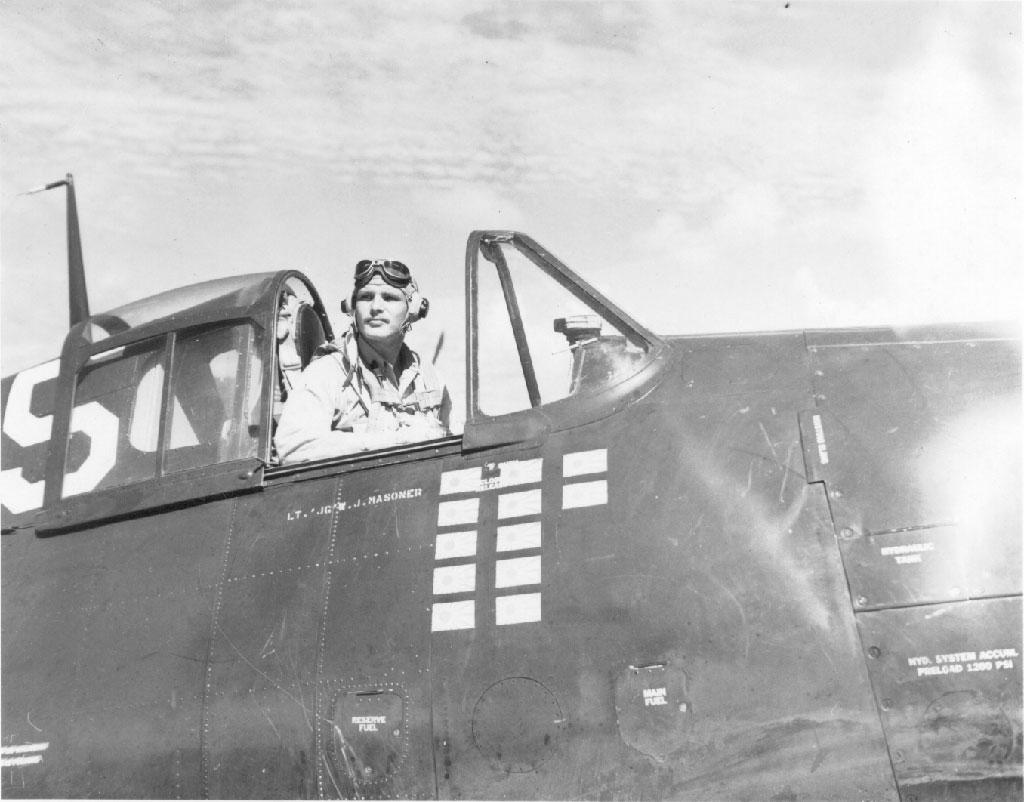 Aircrew USN VF 19 Ensign Fairservice in the cockpit of Masoner's plane