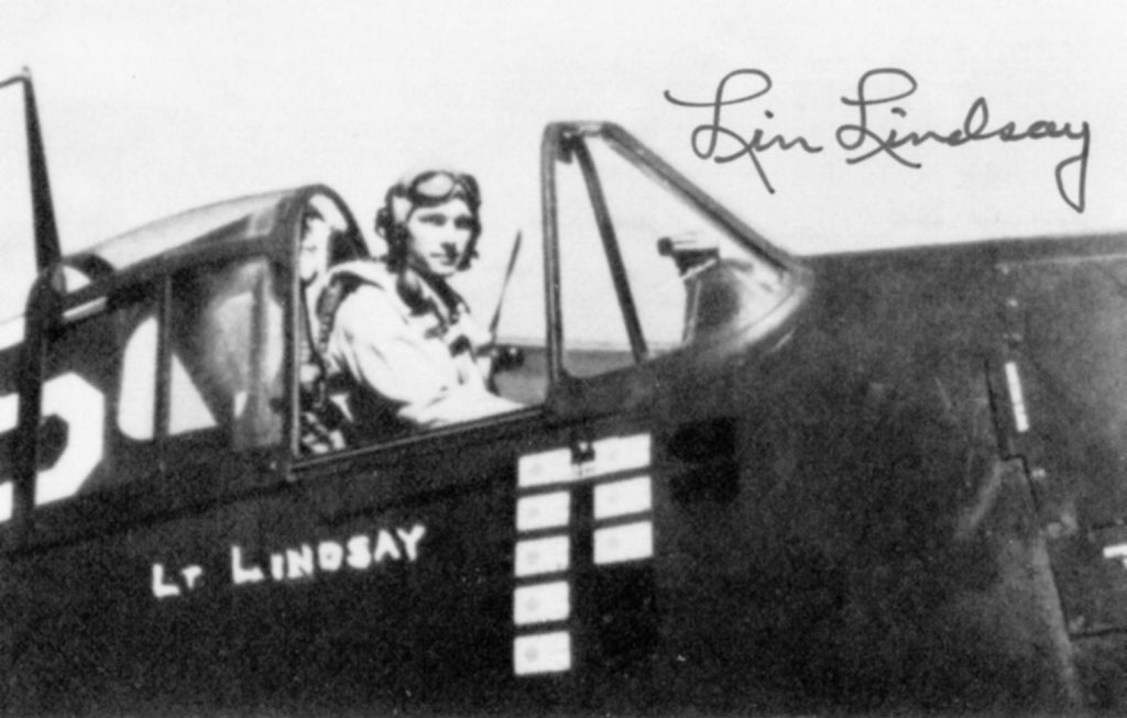 Aircrew USN VF 19 Lt Cdr Elvin Lindsay in the cockpit of his F6F
