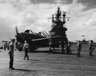 Asisbiz Grumman F6F 3 Hellcat VF 19 White 17 aboard CV 16 USS Lexington off Formosa 10th Oct 1944 01