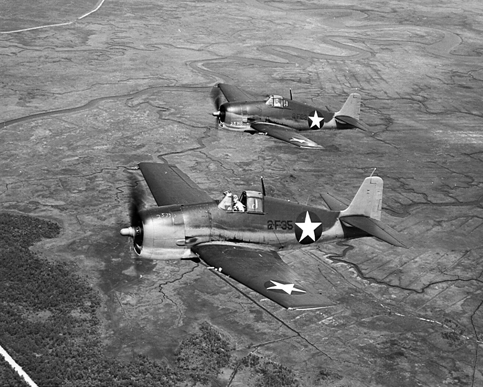 Grumman F6F 3 Hellcat VF 2 Black 35 and 23 USS Hornet CV 12 on patrol 1944 01