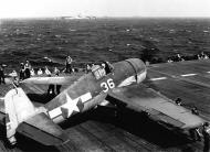Asisbiz Grumman F6F 3 Hellcat VF 2 White 36 after a raid over the Marianas CV 12 USS Hornet June 1944 01