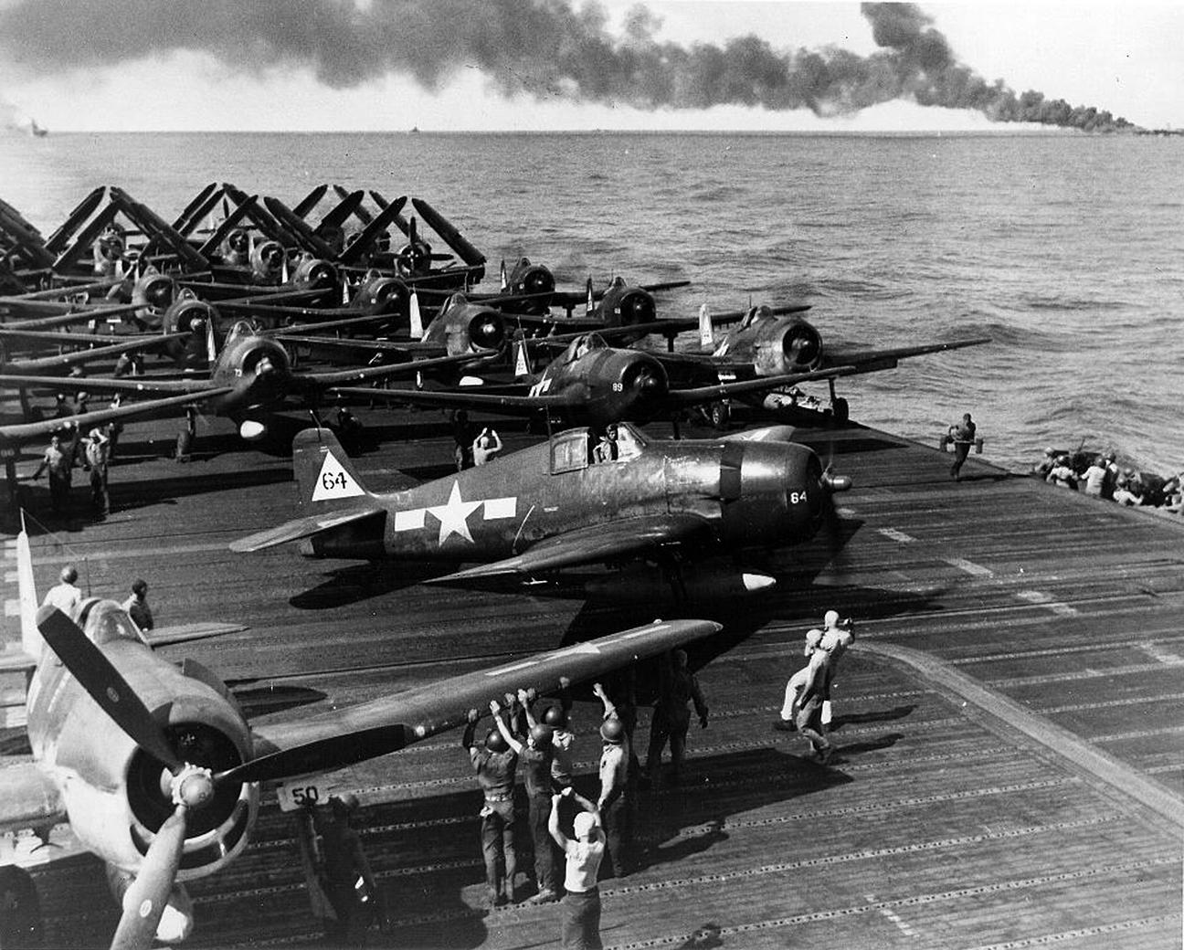 Grumman F6F 5 Hellcat VF 20 White 64 preparing for launch CV 6 USS Enterprise 01